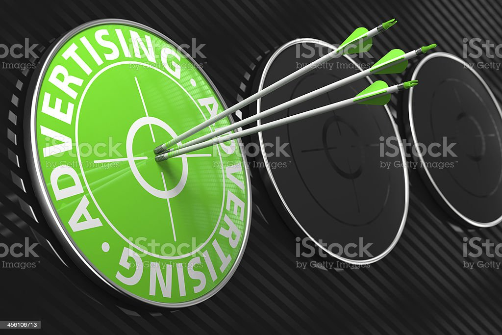 Advertising Concept on Green Target. stock photo