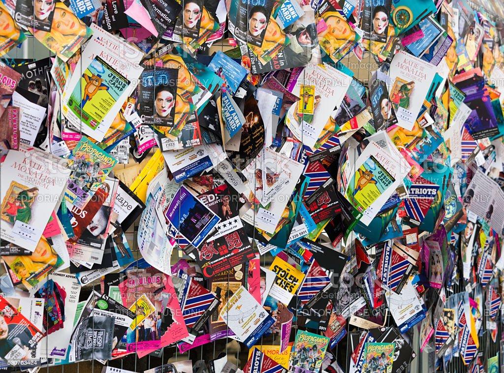 Advertising flyers for shows in the Edinburgh Festival Fringe stock photo