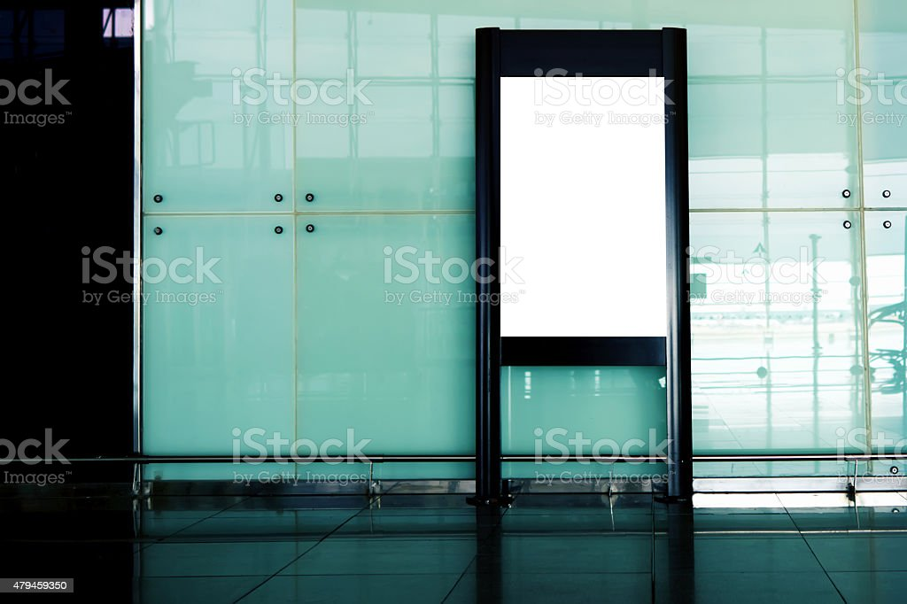 Advertising mockup  for media in the lobby of the airport stock photo