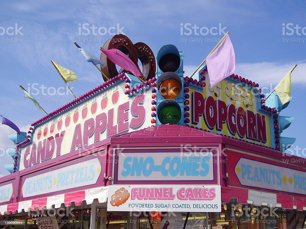 Advertising signs for food at a carnival or Boardwalk stock photo