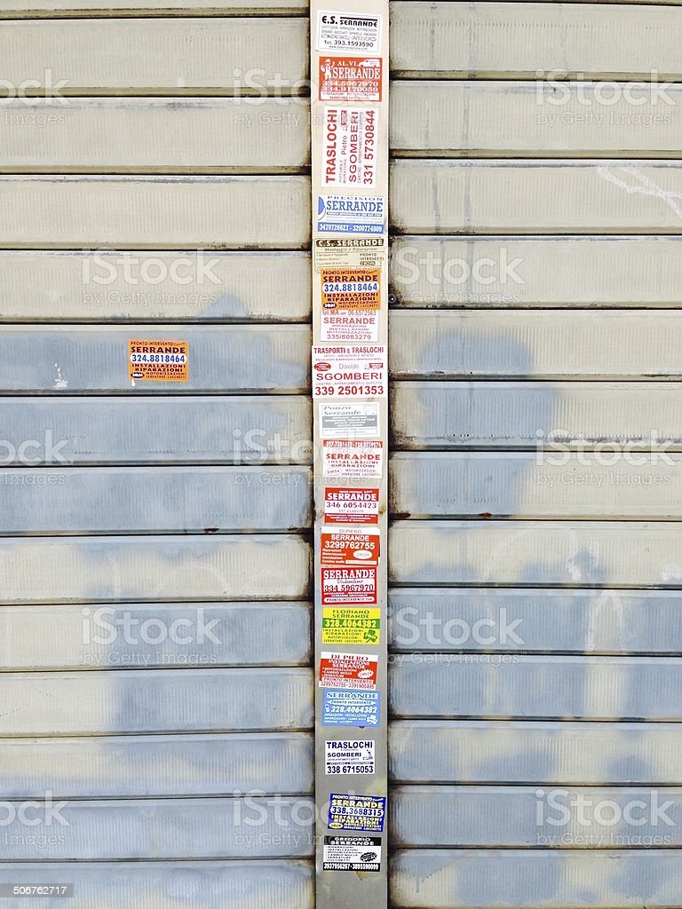 Advertising stickers in the Italian capital royalty-free stock photo
