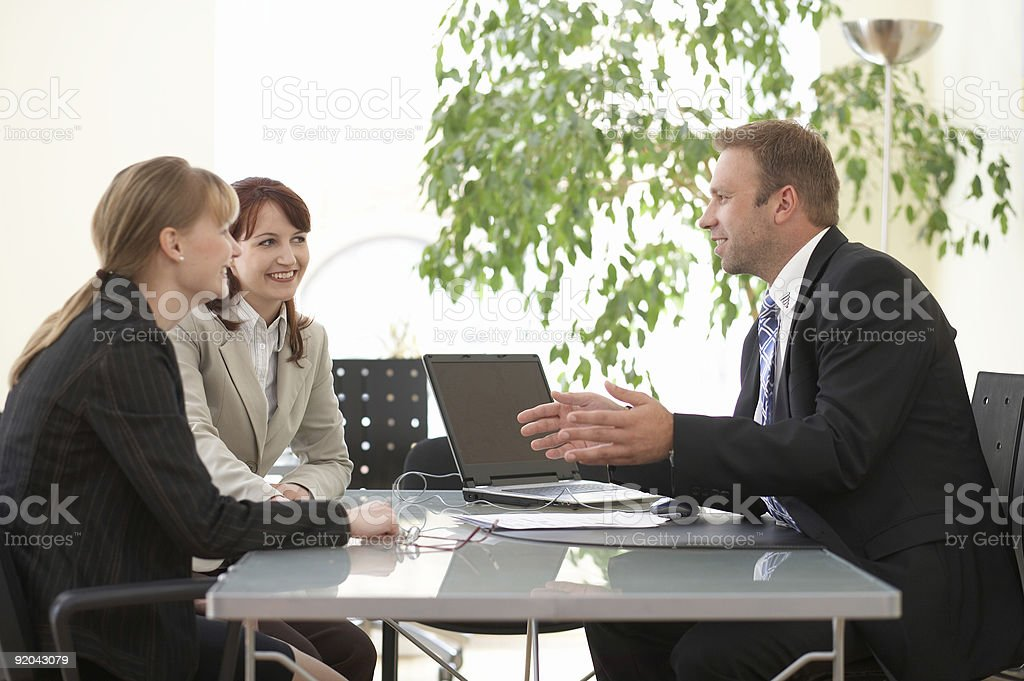 advice, salesperson, businesspeople are discussing work and new projects stock photo