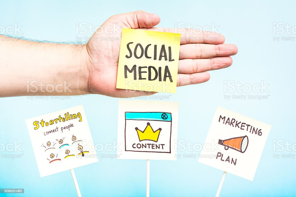 Advice social media, content, markeing plan, storytelling stock photo