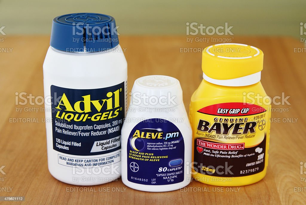 Advil, Aleve and Aspirin Pain Reliever Medicines stock photo