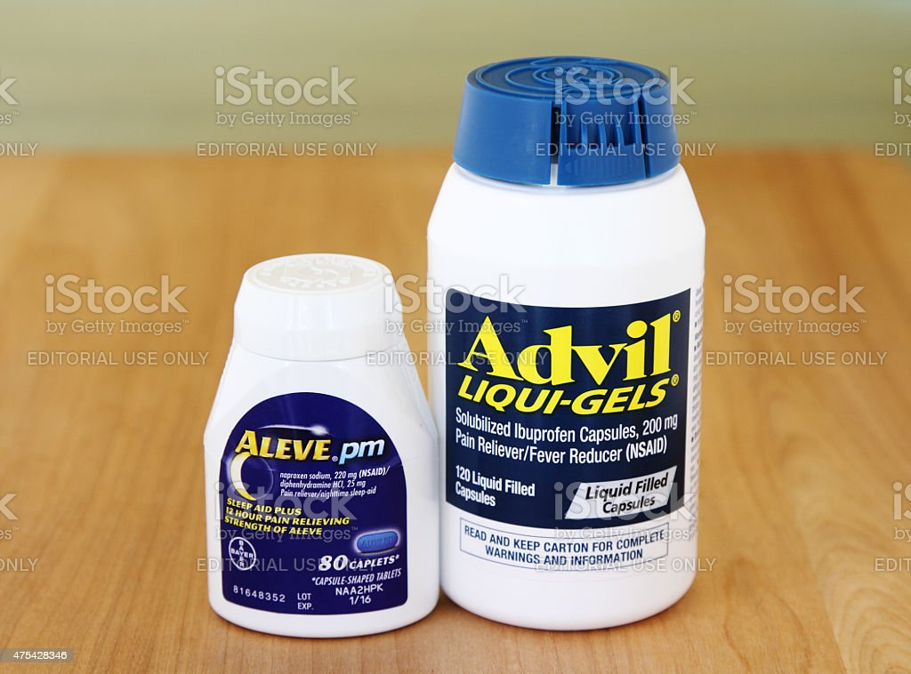 Advil and Aleve Pain Reliever Medicines stock photo