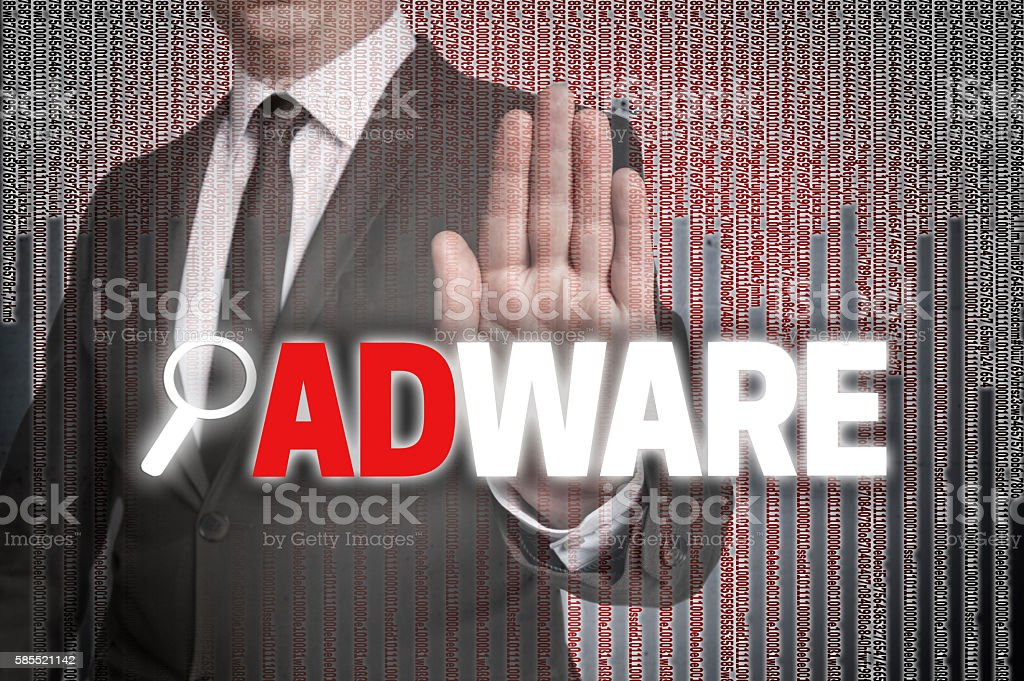 Adware with matrix is shown by businessman stock photo