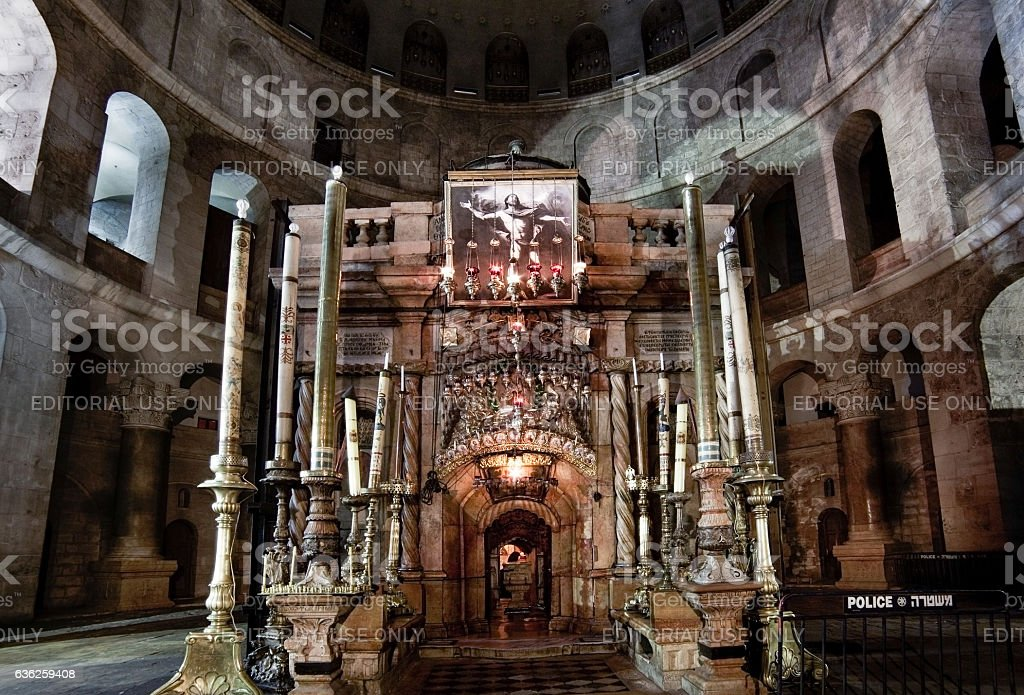 Aedicula in the Church of Holy Sepulchre stock photo