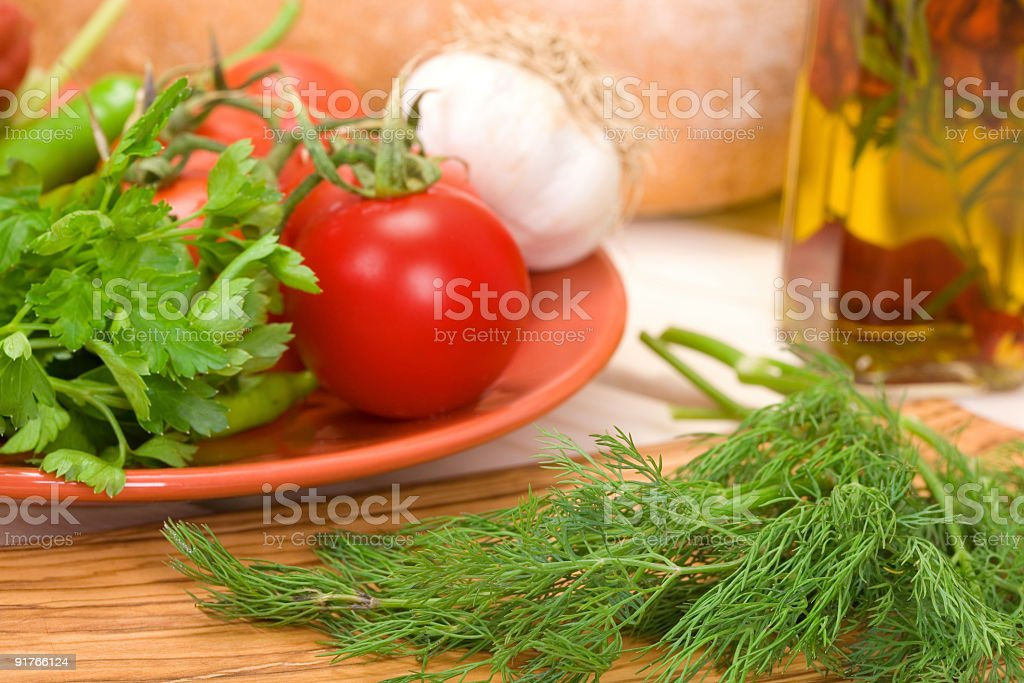 aegean salad, olive oil and some vegetables royalty-free stock photo