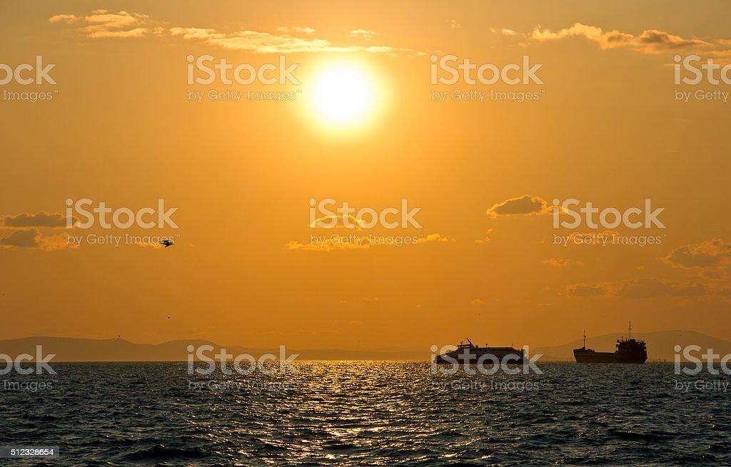 Aegean sea and izmir gulf stock photo