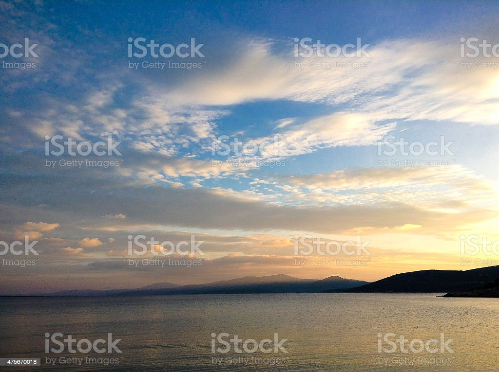 Aegean sea at sunset time stock photo