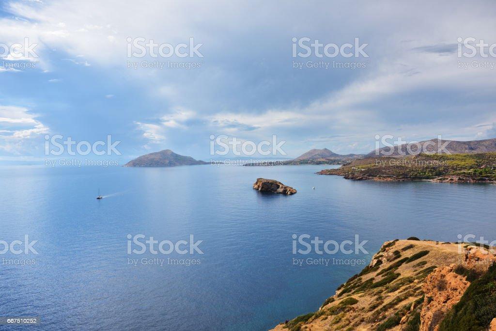 Aegean sea, Cape Sounion, Attica, Greece stock photo