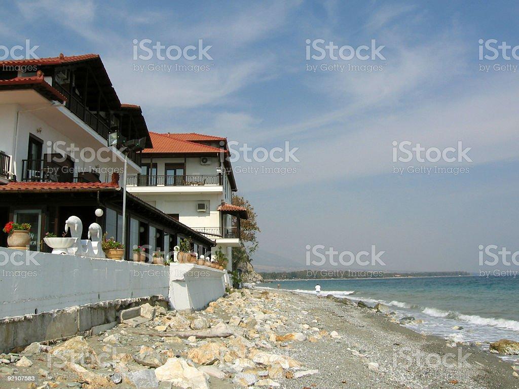 Aegean sea hotel stock photo