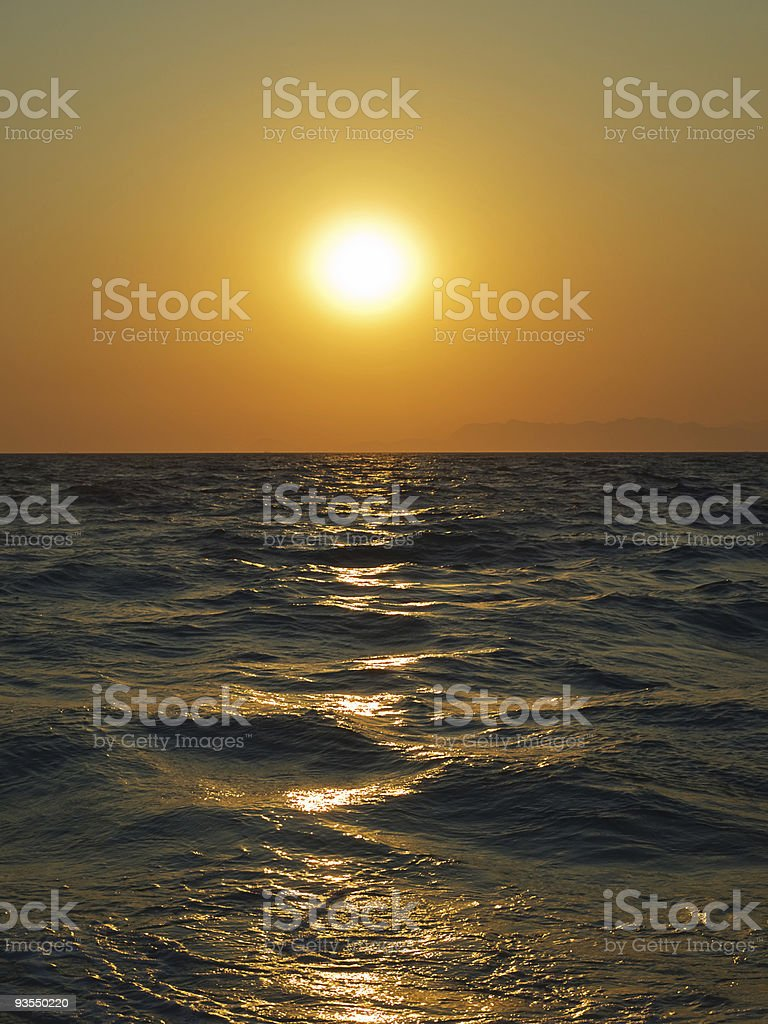 Aegean sea sunset stock photo