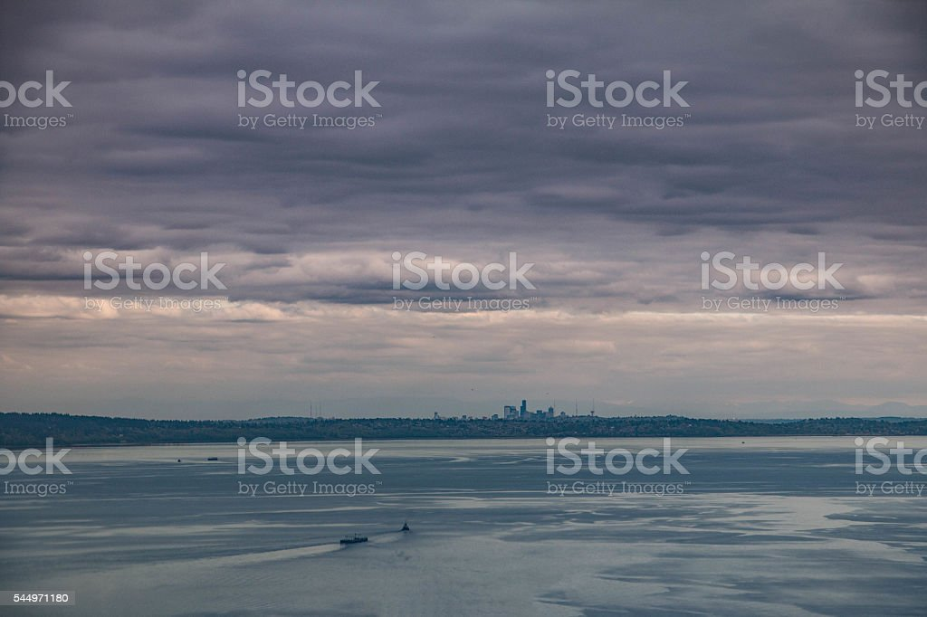 Aeiral view of Puget Sound with Seattle in distance stock photo
