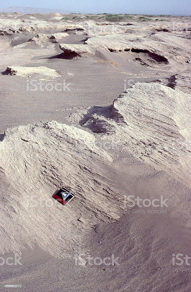 Aeolian Erosion Sand Blasting exposed bedrock Turfan Depression Xinjiang China stock photo