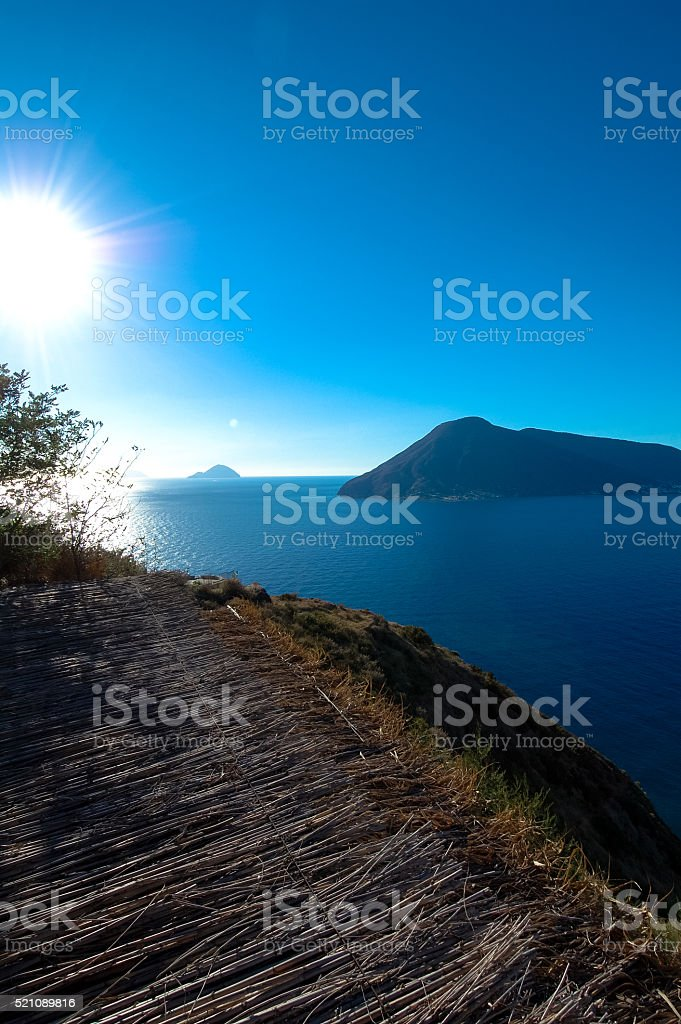 Aeolian islands from Lipari. stock photo