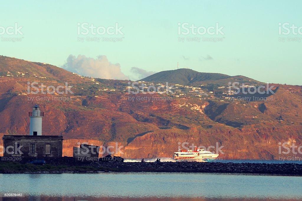 Aeolian Islands hydrofoil. Rinella, Salina, Lipari. stock photo