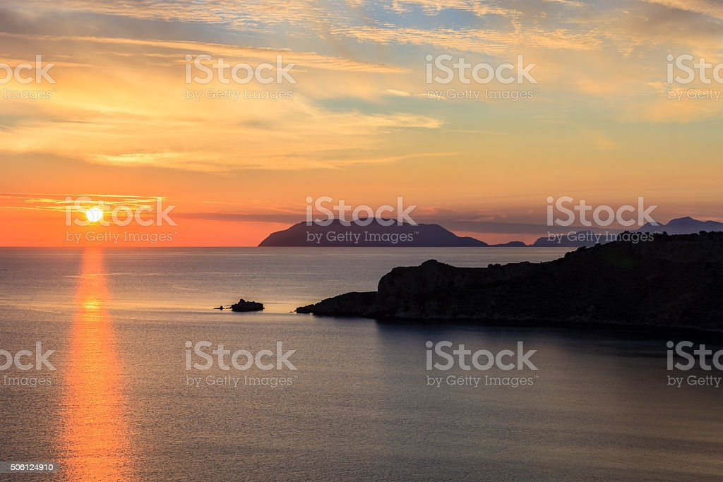 Aeolian Islands seen from Capo Milazzo, Sicily stock photo