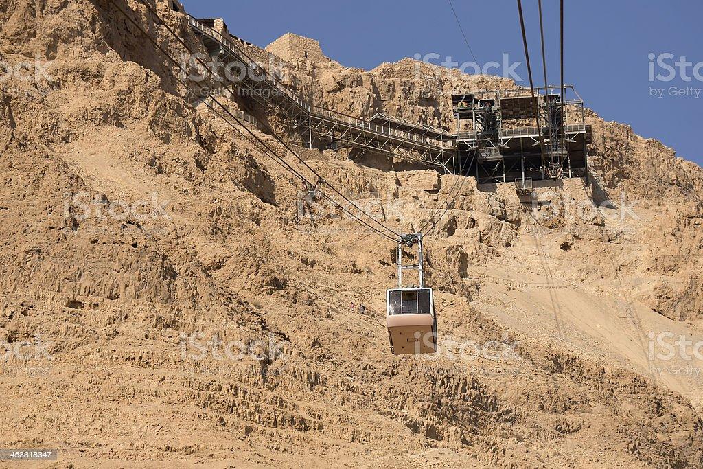 Aerail Tram to Masada, Israel stock photo