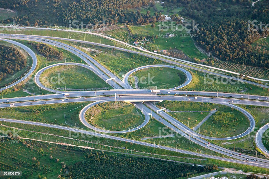 Aerail view of interchange stock photo
