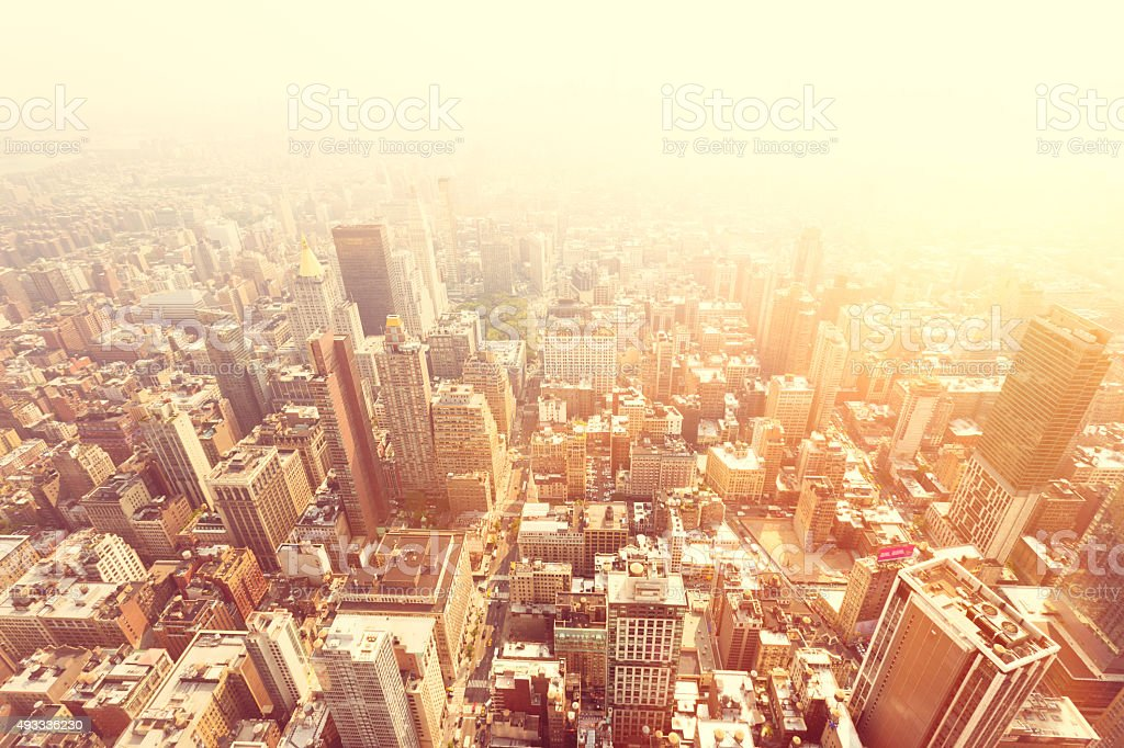 Aeral View of Manhattan from Empire State Building stock photo