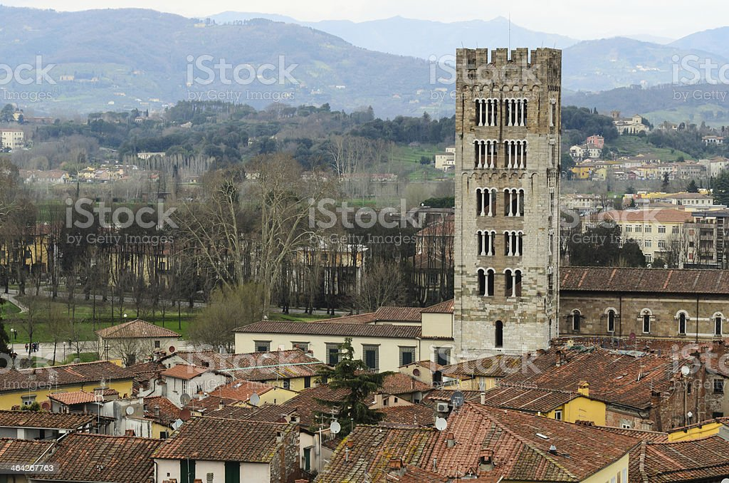 Aereal View Of Lucca From Clock Tower stock photo