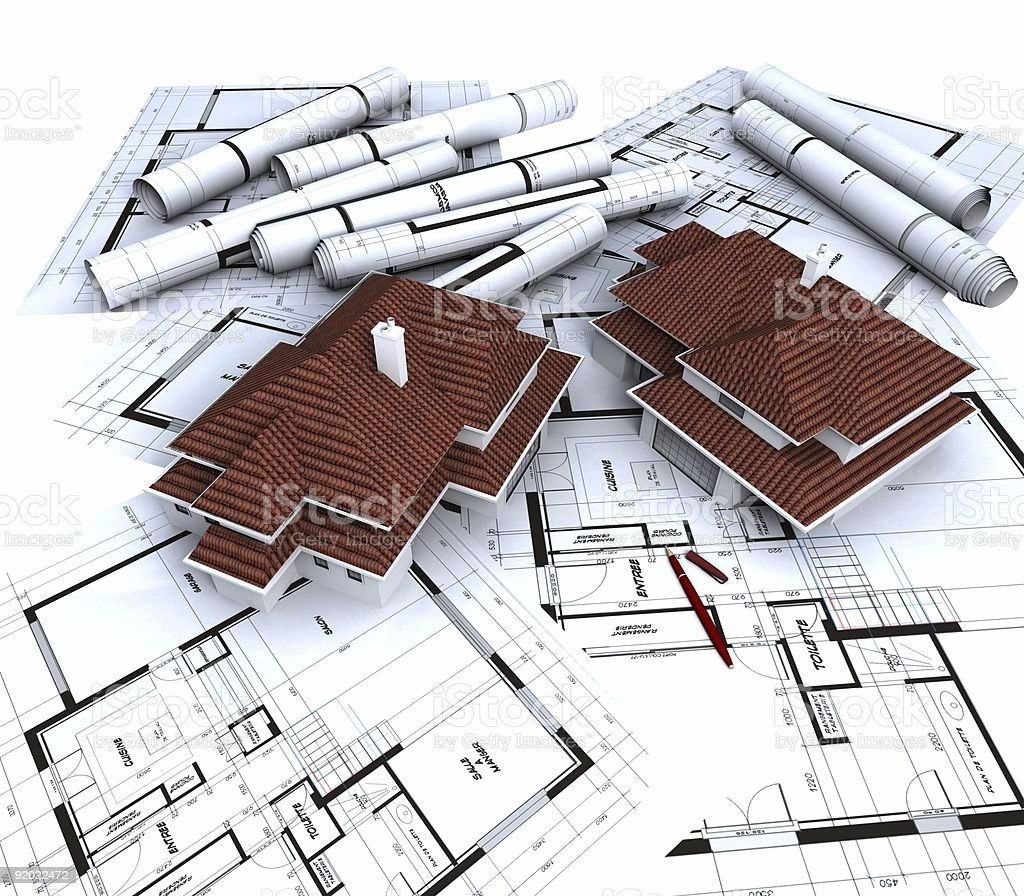 Aereal view showing houses on top of blueprints royalty-free stock photo