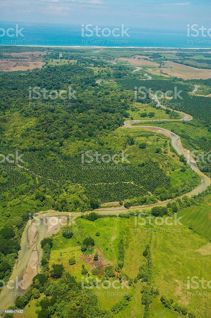 Aeria View of Winding River in Costa Rica stock photo