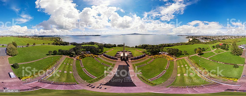 Aerial 360 Panorama of Michael Joseph Savage Memorial Park. stock photo