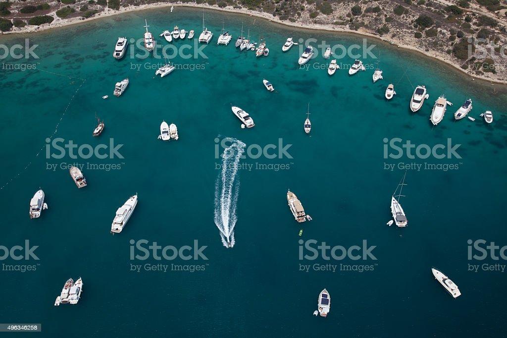 aerial aegean bay coast with yachts stock photo