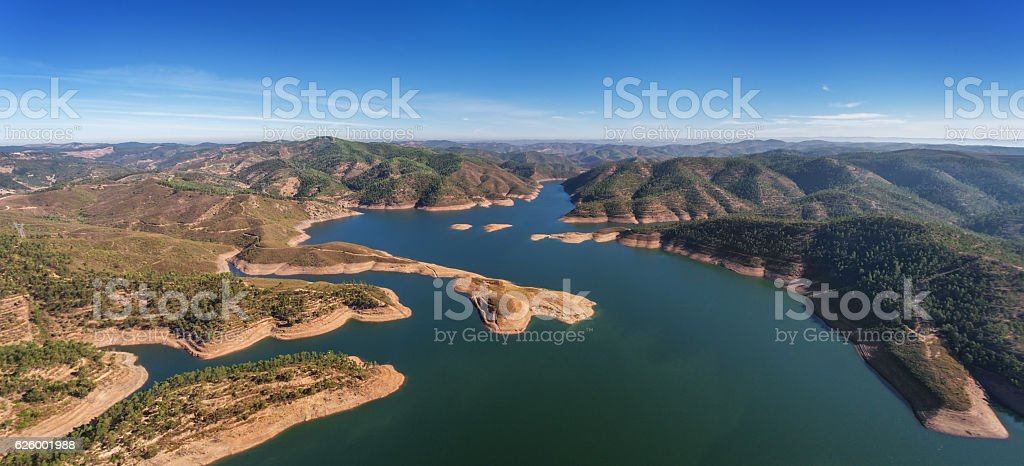 Aerial. Aerophotographingpanorama dam in Monchique Odelouca. stock photo