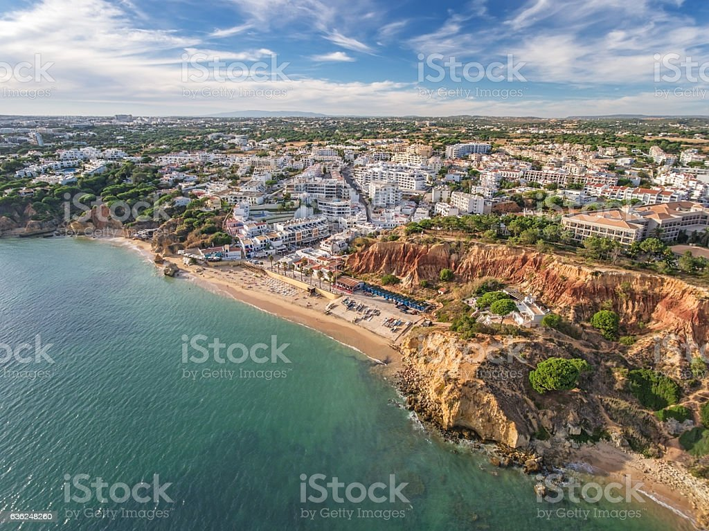 Aerial. Amazing view from the sky, town Olhos de Agua stock photo