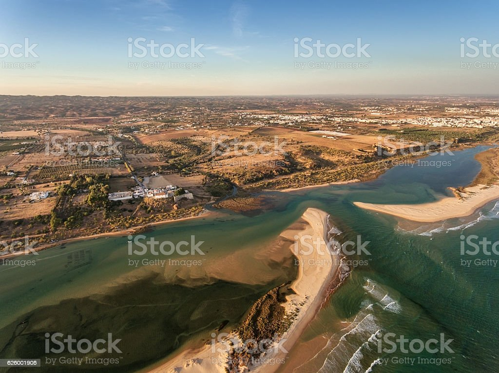 Aerial. Amazing view from the sky, village Cacela Velha and stock photo