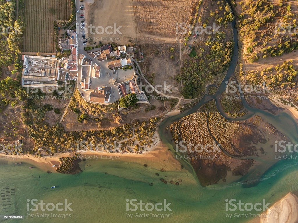 Aerial. Amazing view of the sky, the village Cacela Velha. stock photo
