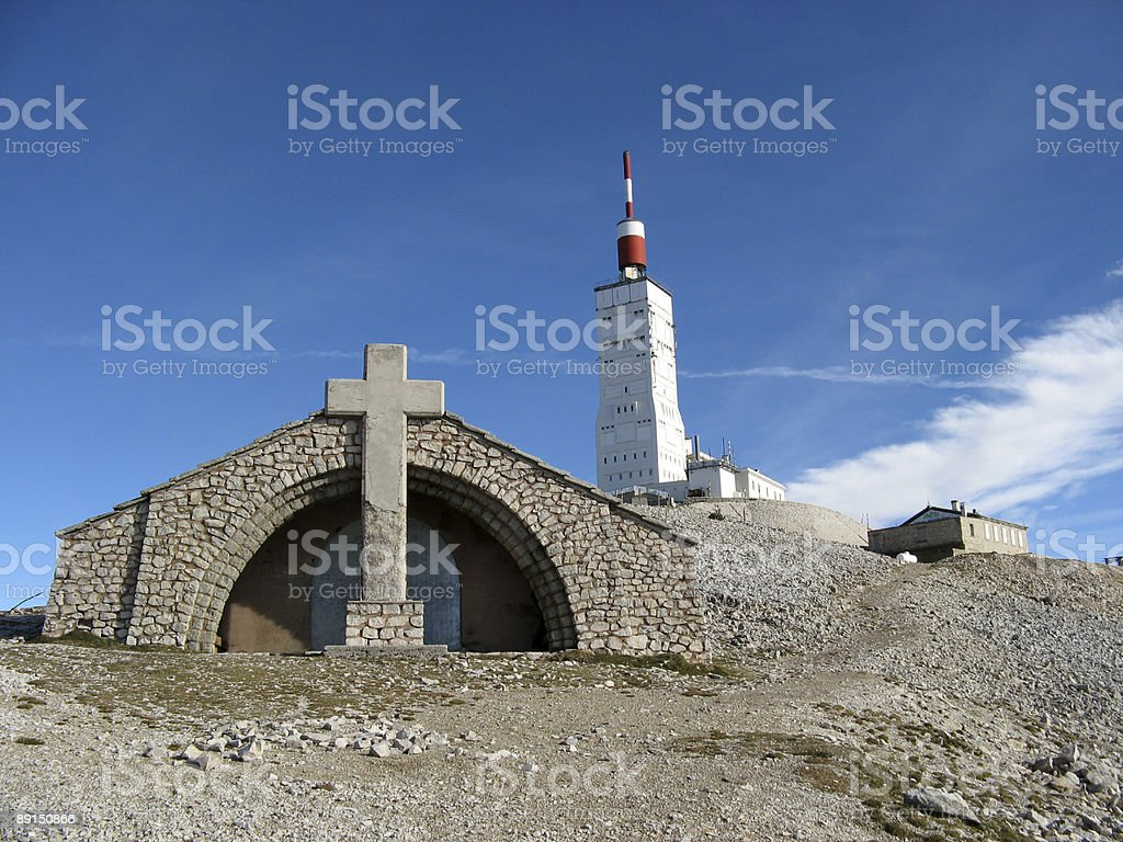 Aerial and chapel at the summit of Mount Ventoux royalty-free stock photo