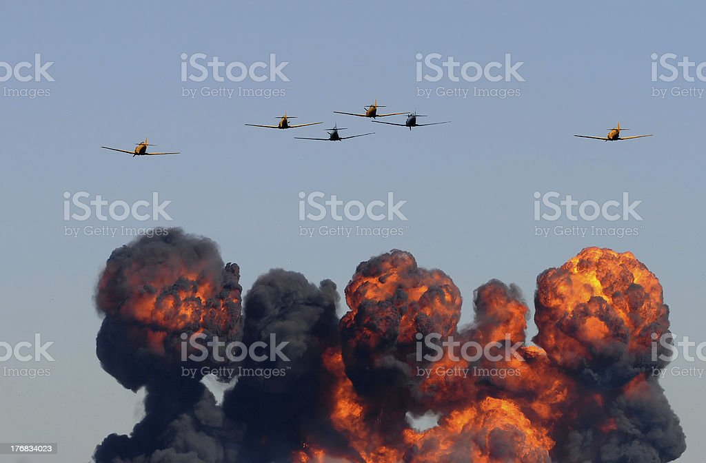 Aerial assault stock photo