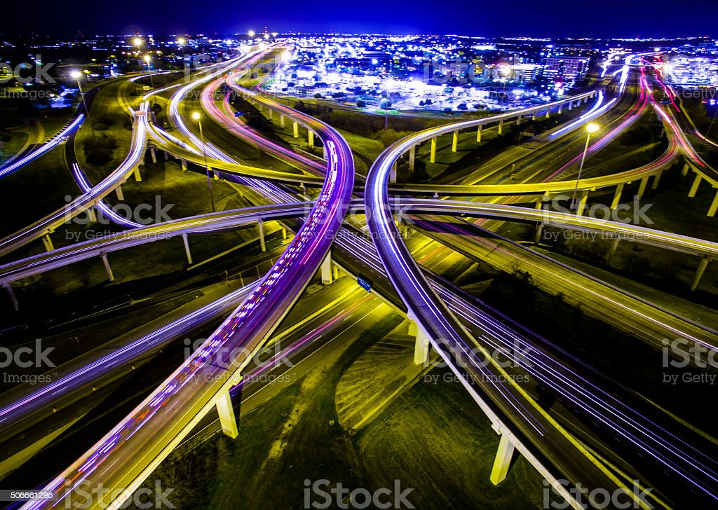 Aerial Austin Ambulance Interstate Interchange Expansive Night TimeLapse stock photo