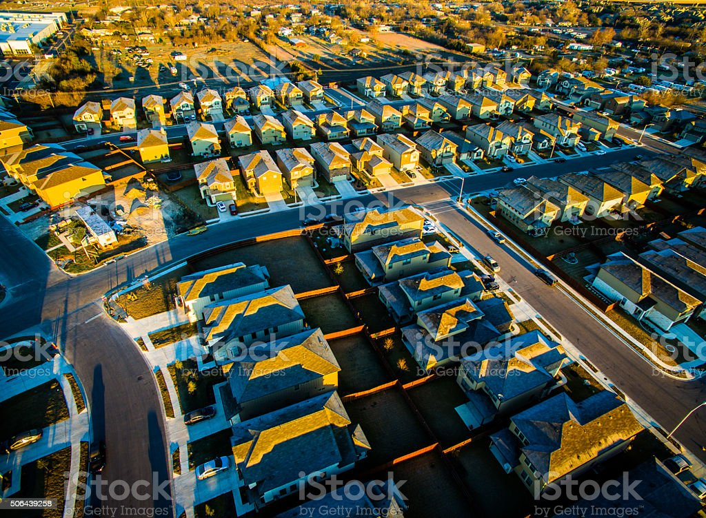 Aerial Austin Round Rock Suburbia Sunrise Golden Hour stock photo