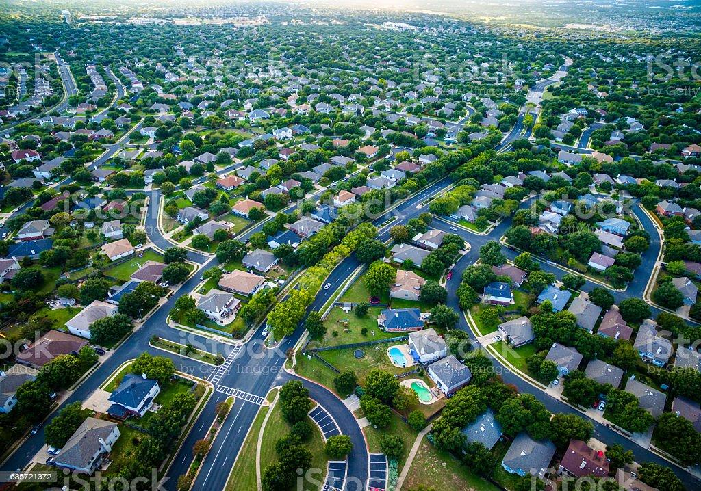 Aerial Austin Surburb Home Development Vast neighborhoods stock photo
