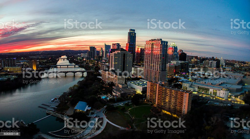 Aerial Austin Texas Sunset Glowing Cityscape Over Capital City stock photo