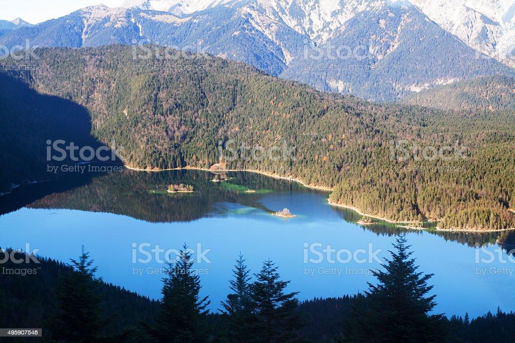 Aerial autumn panorama of Eibsee stock photo
