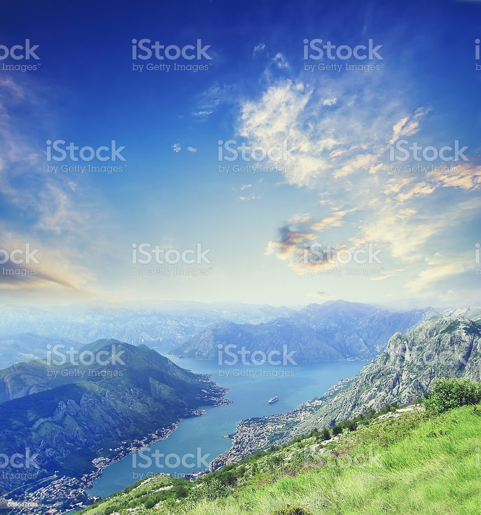 Aerial bird eye view of Kotor Bay in Montenegro stock photo