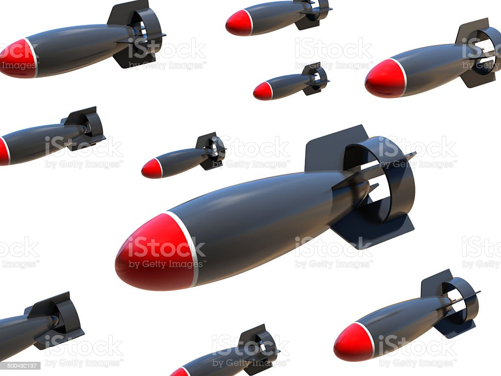 aerial bombs on a white background stock photo