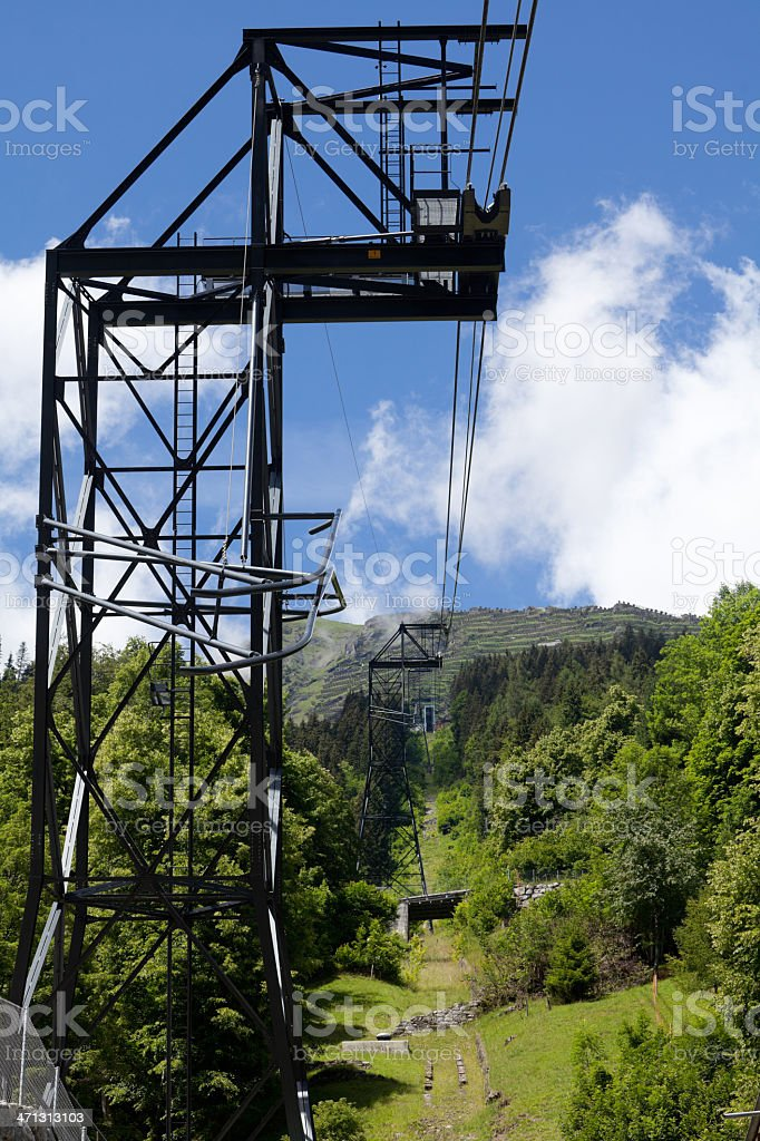 Aerial Cableway from Lauterbrunnen to Grütschalp, Bernese Oberland, Switzerland royalty-free stock photo