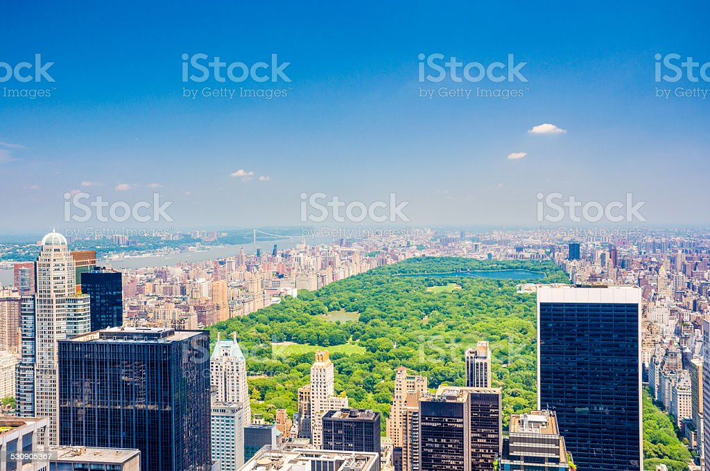 Aerial Central park view stock photo