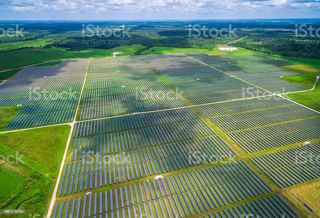 Aerial Central Texas Solar Energy Farm Thousands of Collectors stock photo