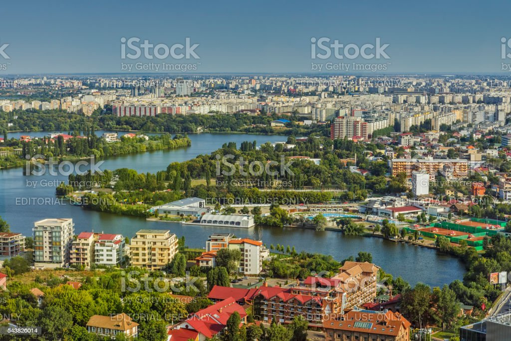 Aerial city view of Bucharest Northern Side stock photo