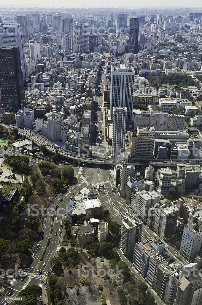 Aerial cityscape crowded city blocks skyscrapers highway apartments Tokyo Japan royalty-free stock photo