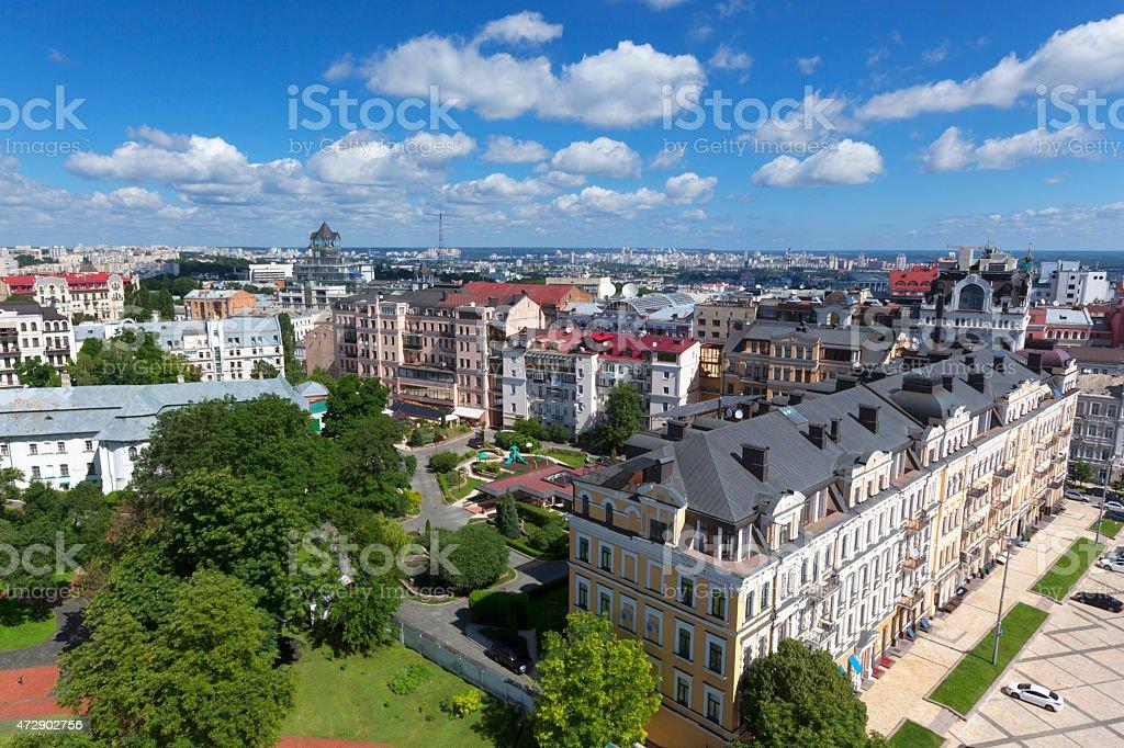Aerial cityscape Kyiv, Ukraine stock photo