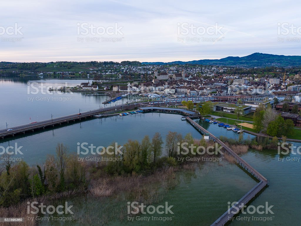 aerial cityscape of Rapperswil, Switzerland stock photo